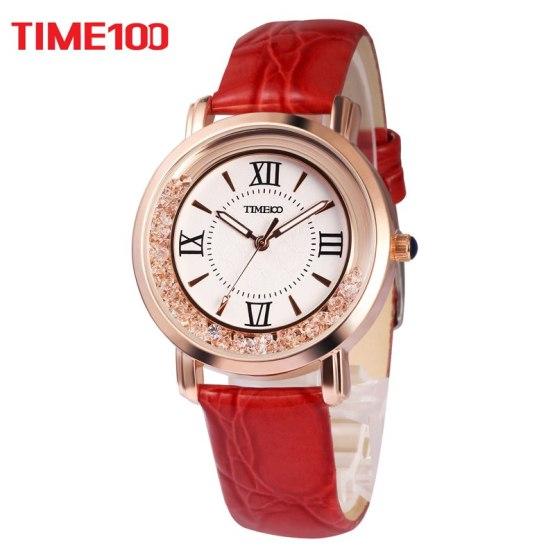TIME100 Women Watches Rhinestone red Leather Strap Ladies Quartz Wrist