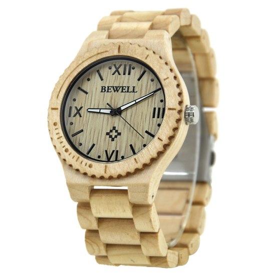 BEWELL Wood Men Quartz Wrist Watches With Roman Numerals
