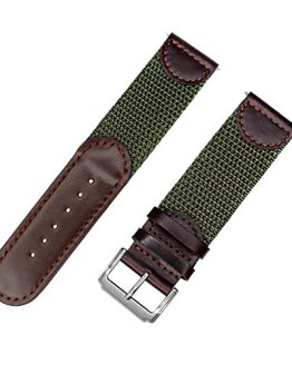 IVAPPON Men's Calfskin Leather and Nylon NATO Watch Strap