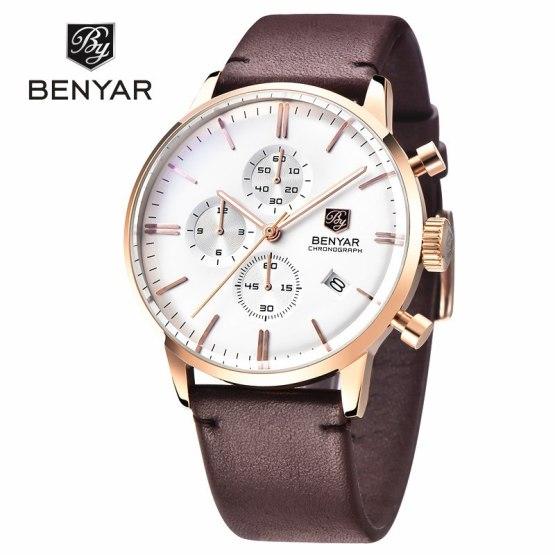 Benyar Luxury Brand Military Watches Men Quartz Chronograph Leather