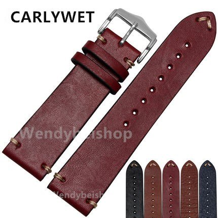 CARLYWET Man Women Handmade C Leather VINTAGE Wrist Watch Band Strap