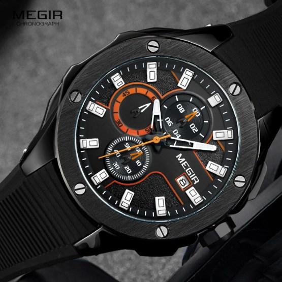 Megir Chronograph Luminous Hands Silicone Bracelet Mens Army Military Watches