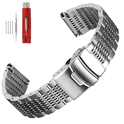 Solid Mesh Stainless Steel Bracelets 20mm/22mm/24mm Watch Bands