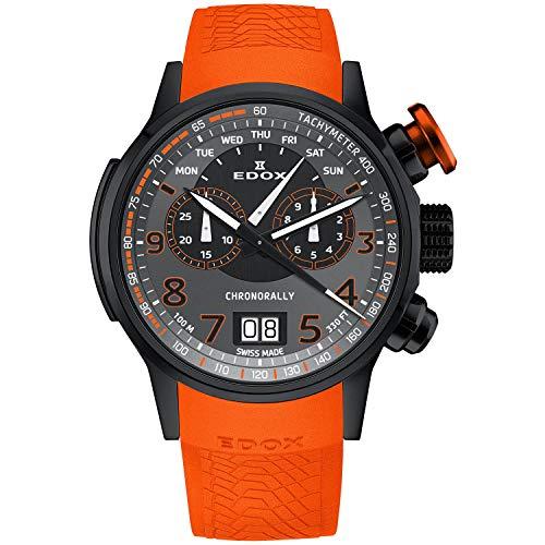 Edox Men's Chronorally 48mm Orange Leather Band Titanium Case Quartz Black Dial Watch 38001 TINNO3 NO3