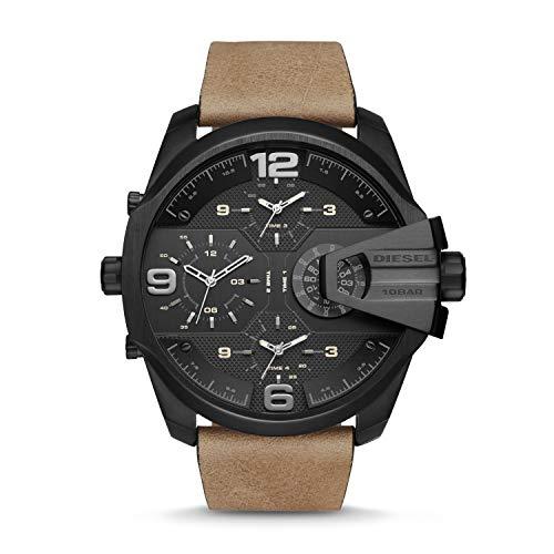 Diesel Men's DZ7390 Uber Chief Black Ip Brown Leather Watch