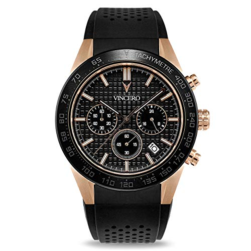 Vincero Luxury Men's Rogue Wrist Watch - Silicone Watch Band - 43mm Chronograph Watch - Japanese Quartz Movement (Black + Rose Gold)