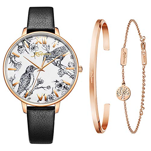 Kaifanxi Women's Quartz Wristwatch Elegant Bird Dial Design with Flowers Gift Bracelet for Ladies Sapphire Crystal Glass and Soft Leather Strap (Black)