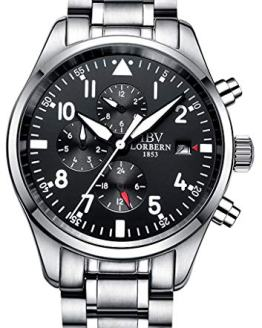 Men's Automatic Watch Moon Phase Luminous Wrist Watches Waterproof (Silver)