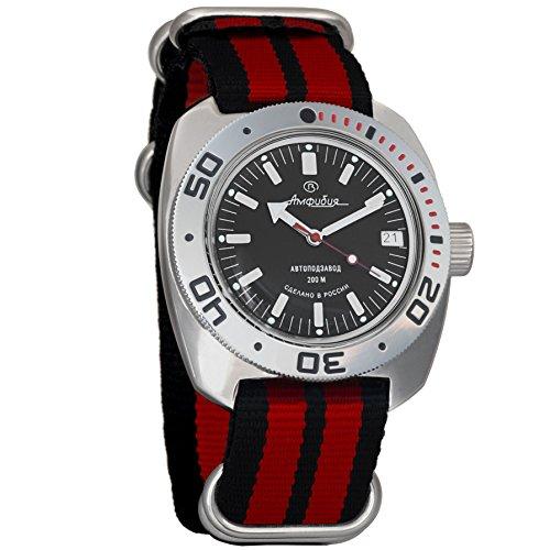 Vostok Amphibian Automatic Mens Wristwatch Self-Winding Military Diver Amphibia Ministry Case Wrist Watch #710662 (Black+red)