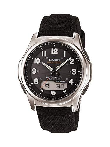 Casio Men's Wave Ceptor Stainless Steel Quartz Watch with Nylon Strap, Black, 20 (Model: WVA-M630B-1ACF)