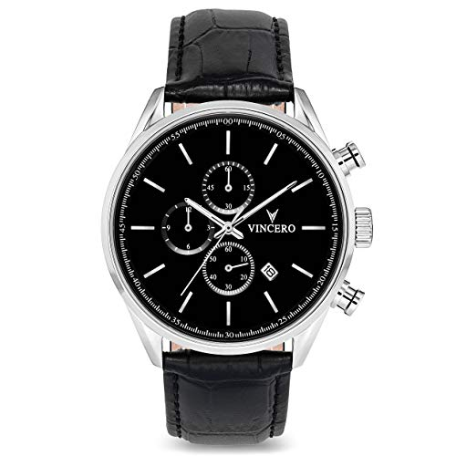 Vincero Luxury Men's Chrono S Wrist Watch - Top Grain Italian Leather Watch Band - 43mm Chronograph Watch - Japanese Quartz Movement (Black/Silver)