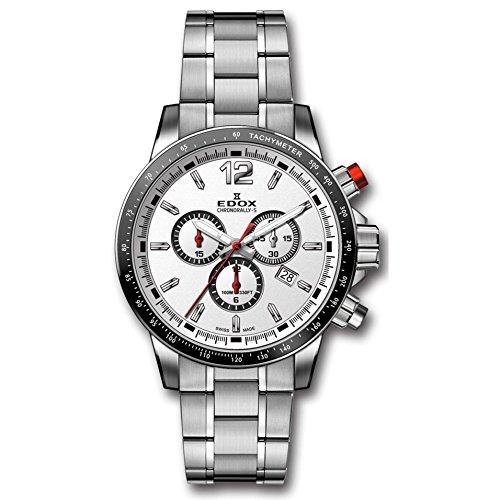 Edox Men's Chronorally S 44mm Steel Bracelet & Case Swiss Quartz Silver-Tone Dial Watch 10229 3M AIN