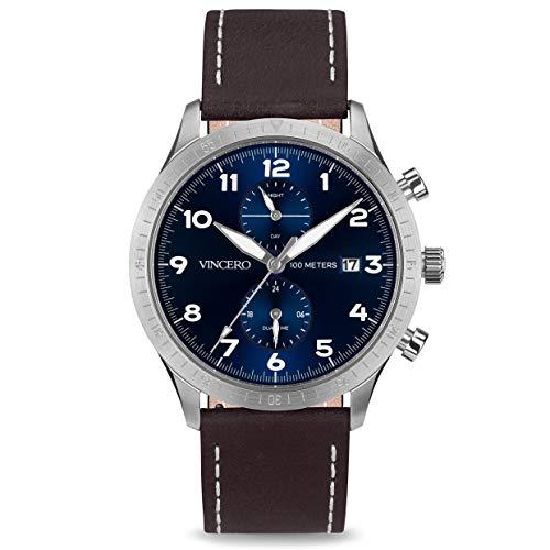 Vincero Luxury Men's Pilot Wrist Watch - Top Grain Italian Leather Watch Band - 44mm Analog Watch - Japanese Quartz Movement (Blue/Silver)