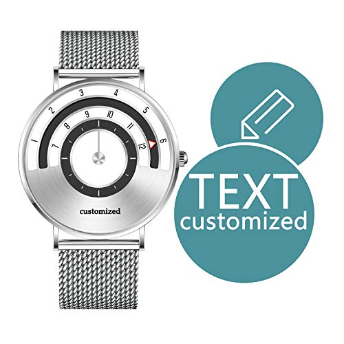 Men Personalized Watches Speed Collection 40mm Face with Text Customized Roman Numerls Fashion Wrist Watch with Silver Rose Gold Black Milanese Mesh Band Valentine's Day Anniversary Gift