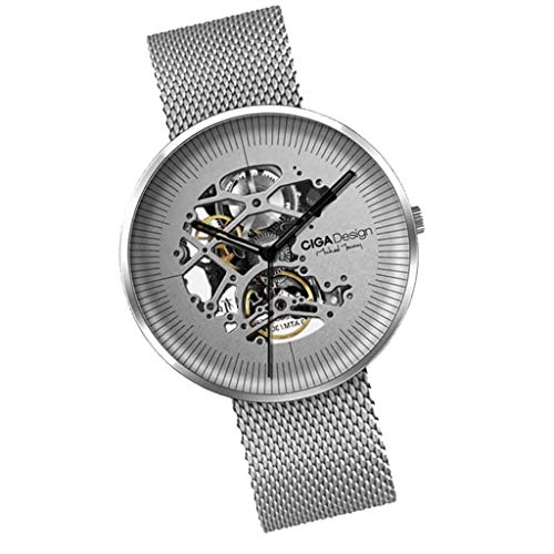 SM SunniMix Xiaomi CIGA Design My Series Men Automatic Mechanical Watch Hollow-Out Steel Wrist Watch Business Watch - Silver, as described