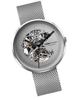 SM SunniMix Xiaomi CIGA Design My Series Men Automatic Mechanical Watch Hollow-Out Steel Wrist Watch Business Watch - Silver, as described