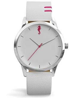 Maro Cevalo Balance Watch for Men and Women | 40mm Minimalist Wrist Watch with Analog Miyota Movement and Genuine Italian Leather 20mm Strap | 50 Meter Water Resistance - White Nimbus