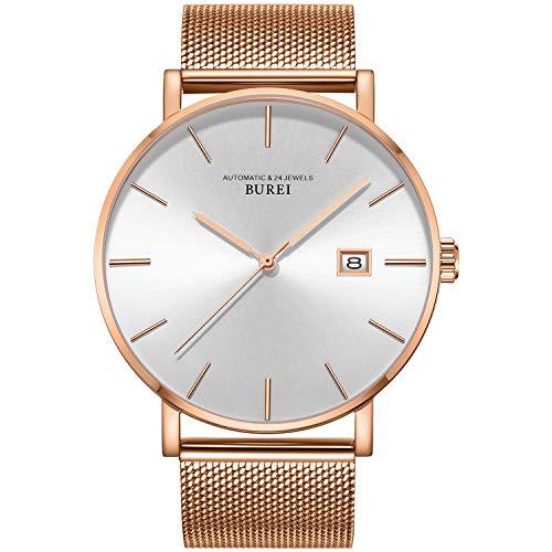 Burei Men's Automatic Watch Minimalist Fashion Luxury Sapphire Lens Simulated Date (Rose Gold)