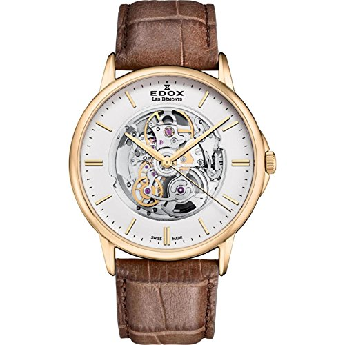 Edox Men's Les Bemonts Stainless Steel Swiss-Automatic Watch with Leather Strap, Brown, 22 (Model: 85300 37J AID)