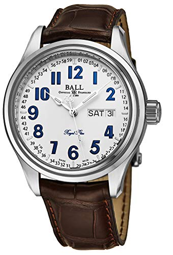 Ball Men's NM1058D-LL9J-WH 'Trainmaster' White Dial Brown Leather Strap Day Date Royal Blue Limited Edition Swiss Automatic Watch