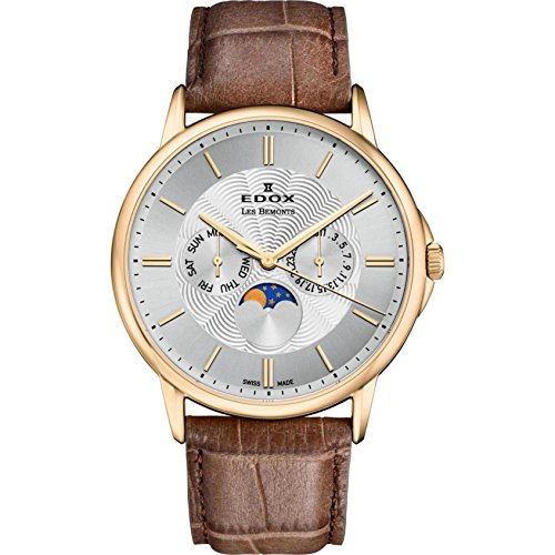 Edox Men's Les Bemonts Stainless Steel Swiss-Quartz Watch with Leather Strap, Brown, 22 (Model: 40002 37J AID)