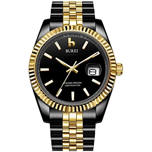 BUREI Men Automatic Watch Mechanical Waist Watches with Date Window Synthetic Sapphire Lens and Stainless Steel Band