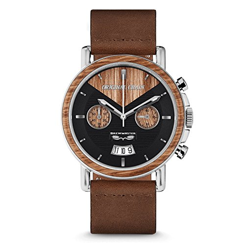 Original Grain Wood Wrist Watch | Brewmaster Collection 44MM Chronograph Watch | Brown Leather Watch Band | Japanese Quartz Movement | German Oak Beer Barrel Wood Bezel | Stainless Steel Case