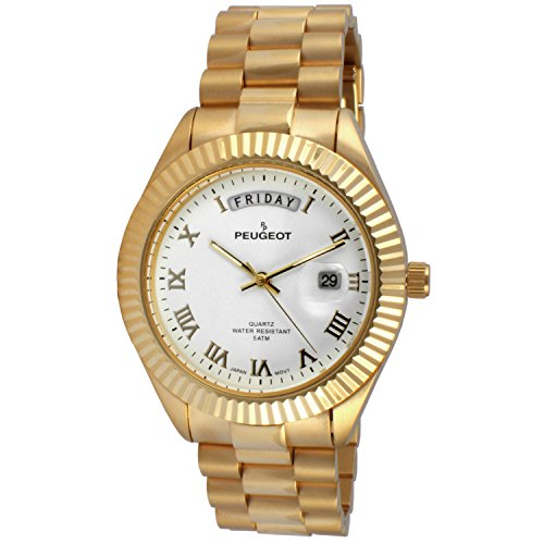 Peugeot Men's '14K All Plated Day Date Roman Numeral Big White Face Fluted Bezel Luxury' Quartz Metal and Stainless Steel Dress Watch, Color:Gold-Toned (Model: 1029WT)