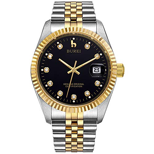 BUREI Mens Luxury Automatic Watch Two Tones Stainless Steel Dress Wrist Watches Self-Winding (Gold & Black)