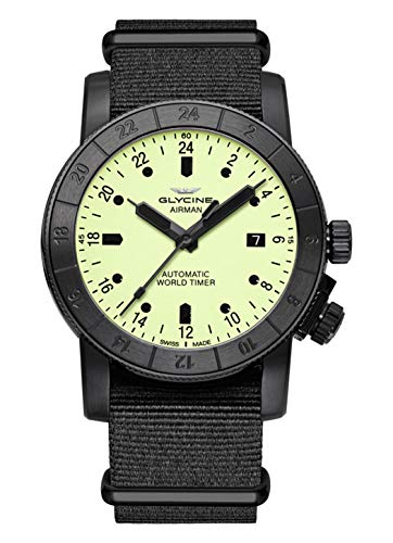 Glycine Airman World Timer Automatic Yellow Dial Mens Watch GL0142