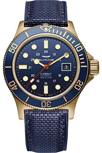 Glycine Combat Mens Analog Swiss Quartz Watch with Leather Bracelet GL0174
