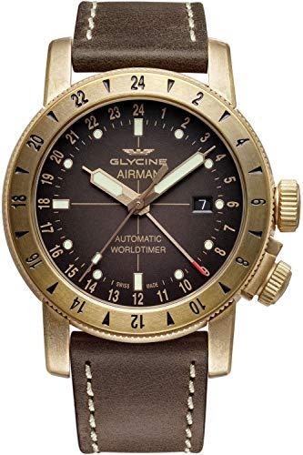 Glycine Airman Mens Analog Swiss Automatic Watch with Leather Bracelet GL0166