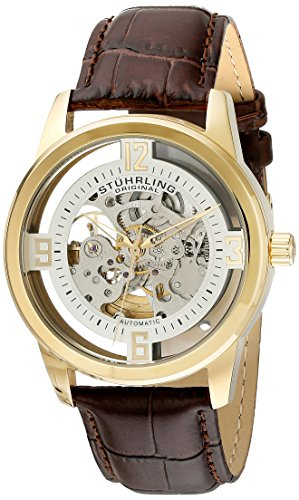 Stuhrling Original Men's 877.04 Winchester Automatic Gold-Plated Watch with Croco-Embossed Band