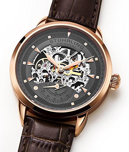 Stuhrling Original Men's 133.3345K54 Executive Automatic Self Wind Skeleton Leather Strap Watch