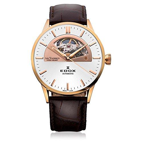 Edox Men's 85014 37R AIR Les Vauberts Analog Display Swiss Automatic Brown Watch