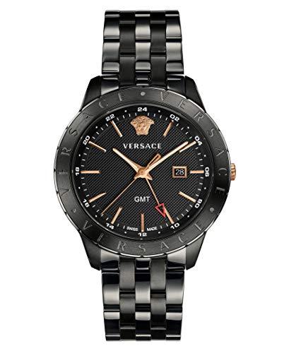 Versace Men's Business Slim Quartz Watch with Stainless-Steel Strap, Black, 21 (Model: VEBK00618)