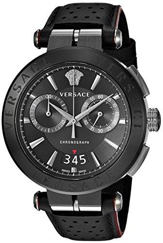 Versace Men's Aion Chrono Stainless Steel Quartz Watch with Leather Calfskin Strap, Black, 24 (Model: VBR030017)