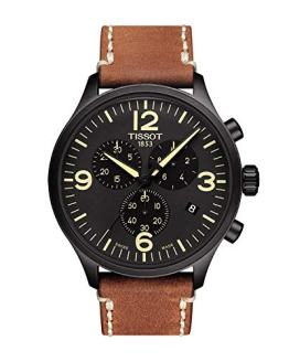 Tissot Chrono XL Mens Chronograph Watch - 45mm Analog Black Face with Date and Sapphire Crystal - Brown Leather Band Swiss Made Black PVD Stainless Steel Luxury Quartz Watch for Men T116.617.36.057.00