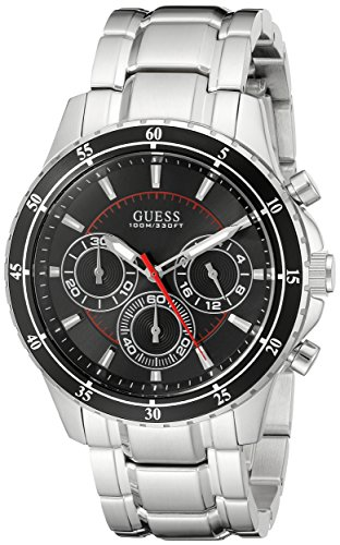 GUESS Men's U0676G1 Silver-Tone Chronograph Watch with Black Dial