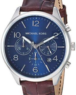 Michael Kors Men's Merrick Stainless Steel Analog-Quartz Watch with Leather Strap, Brown, 22 (Model: MK8636)