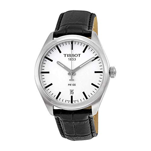 Tissot Men's Stainless Steel Quartz Watch with Leather-Synthetic Strap, Silver, 18 (Model: T1014101603100)