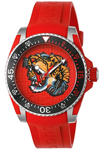 Gucci Dive Red Dial Red Rubber Men's Watch YA136315