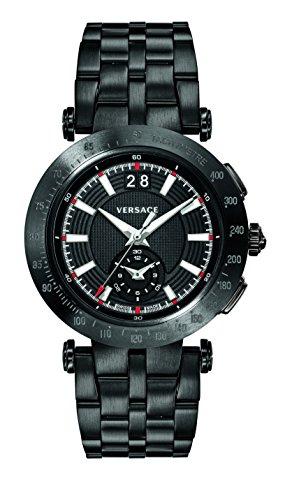Versace Men's V-Race Sport Swiss-Quartz Watch with Stainless-Steel Strap, Black (Model: VAH040016)