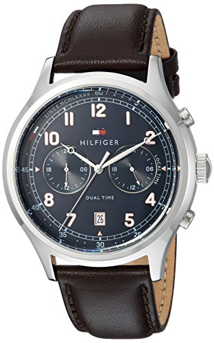 Tommy Hilfiger Men's Casual Sport Stainless Steel Quartz Watch with Leather Strap, Brown, 22 (Model: 1791385)