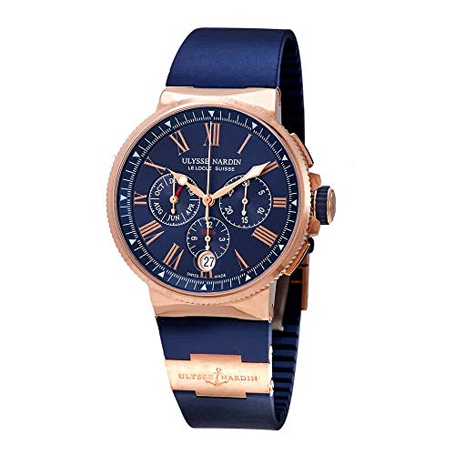 Ulysse Nardin Marine Blue Dial Automatic Men's Chronograph 18kt Rose Gold Watch