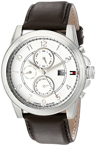 Tommy Hilfiger Men's Stainless Steel Watch with Brown Leather Band