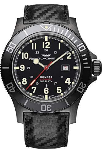 Glycine Combat Mens Analog Swiss Automatic Watch with Leather Bracelet GL0241