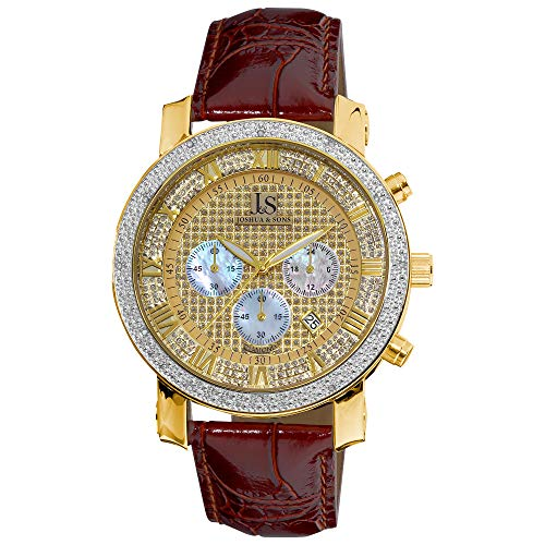 Joshua and Sons Men's Dazzling Diamond Chronograph Watch - Crystal Face Featuring Pearlescent Subdials with Genuine Diamonds On Bezel on Alligator Embossed Leather- JS-28-03