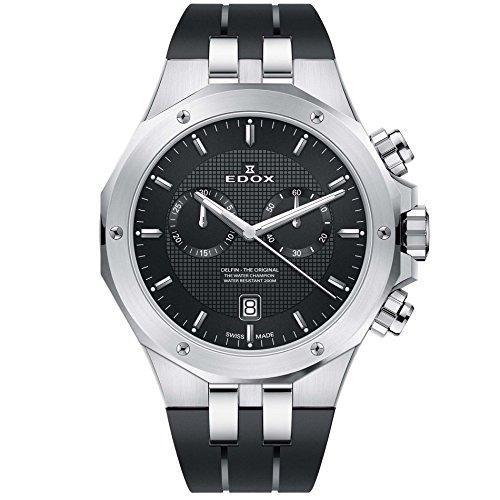 Edox Men's Delfin The Original 43mm Black Rubber Band Steel Case Swiss Quartz Analog Watch 10110 3CA NIN