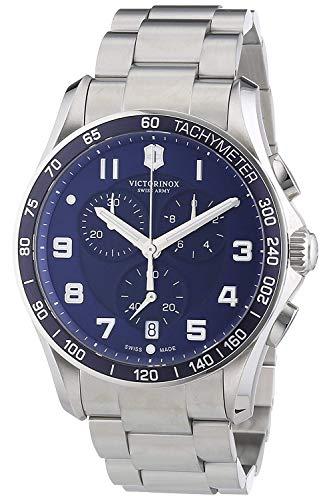Victorinox Chrono Classic XLS Blue Dial Stainless Steel Mens Watch 241652XG (Renewed)